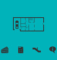 house plan icon flat vector image vector image