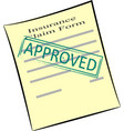 insurance claim form with stamp approved vector image vector image
