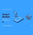 landing page smart wallet electronic finance vector image vector image