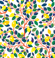 Lemons seamless pattern - design with leaves vector image vector image