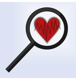 magnifying glass is positioned on a heart vector image vector image