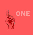 male hand hand shows number one modern design vector image vector image
