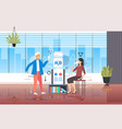 man woman drinking water near cooler colleagues vector image vector image