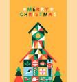 merry christmas abstract folk house greeting card vector image