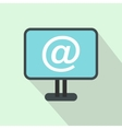 Monitor with email sign icon flat style vector image vector image