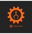 Orange robot industry logo on black vector image