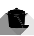 pan with steam sign black icon with two vector image vector image