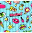 Patches For Girls Comic Style Pattern vector image vector image