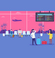 people in airport waiting flight men and women vector image