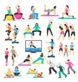 people yoga gymnastics aerobics set vector image