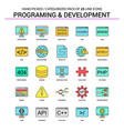 programming and developement flat line icon set vector image