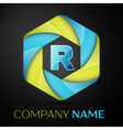 R Letter colorful logo in the hexagonal on black vector image vector image