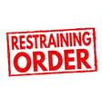 restraining order grunge rubber stamp vector image vector image