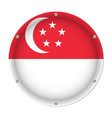 round metallic flag of singapore with screws vector image vector image