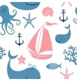Seamless pattern with cute whales sailing vector image vector image
