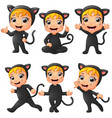 set of little girls wearing cat costume vector image
