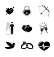 Set of Love Amour icons - heart with arrow two vector image vector image