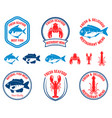 set of seafood emblems fish lobster squid design vector image vector image