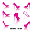 Set of woman shoes silhouettes with reflections vector image vector image