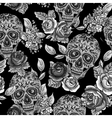 Skull and Flowers Monochrome Seamless Background vector image vector image