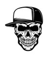 skull in baseball hat isolated on white vector image vector image
