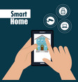 smart house with smartphone and set services icons vector image vector image