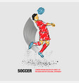 soccer player hit ball head outline vector image vector image