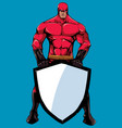 superhero holding shield no cape vector image vector image