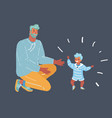 toddler walking father help his son vector image