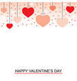 valentines day greeting card with hanging hearts vector image