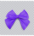 violet bow for packing gifts realistic vector image vector image
