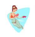 woman swimming in the water vector image