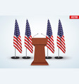 Wooden Podium Tribune US flags vector image vector image
