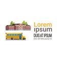 yellow bus school building pupils transport vector image vector image