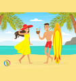 young man and woman having summer vacation couple vector image