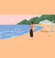 young woman standing on beach and enjoying marine vector image vector image