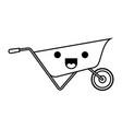 wheelbarrow flat icon monochrome kawaii silhouette vector image