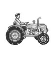 agricultural tractor engraving vector image vector image