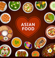 asian food national dishes on a wooden background vector image vector image