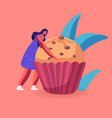 bakery and sweet food concept tiny woman holding vector image vector image