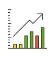 bar chart and arrow icon company or business vector image vector image