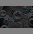 black and glowing neon blue circles abstract vector image vector image