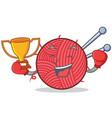 boxing knitting character cartoon style vector image