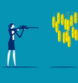 businesswoman pointed gun at coin vector image