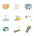Cargo packing icons set cartoon style vector image
