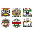 casino gambling games roulette poker cards dice vector image vector image
