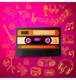 cassette and hand draw misic icon vector image