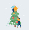 christmas concept people decorated tree vector image vector image