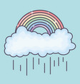 clouds rainy sky with rainbow weather vector image