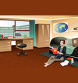 college student studying in dorm vector image